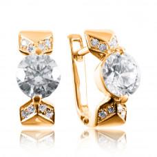 Золотые серьги с камнем циркония 2/1111
