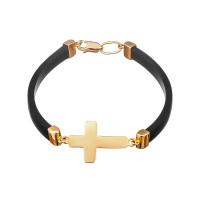 Золотой браслет с крестом каучук  5/5005