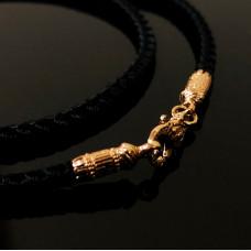 Шелковый шнур с золотым замком «Золотая рыбка» 7/1006