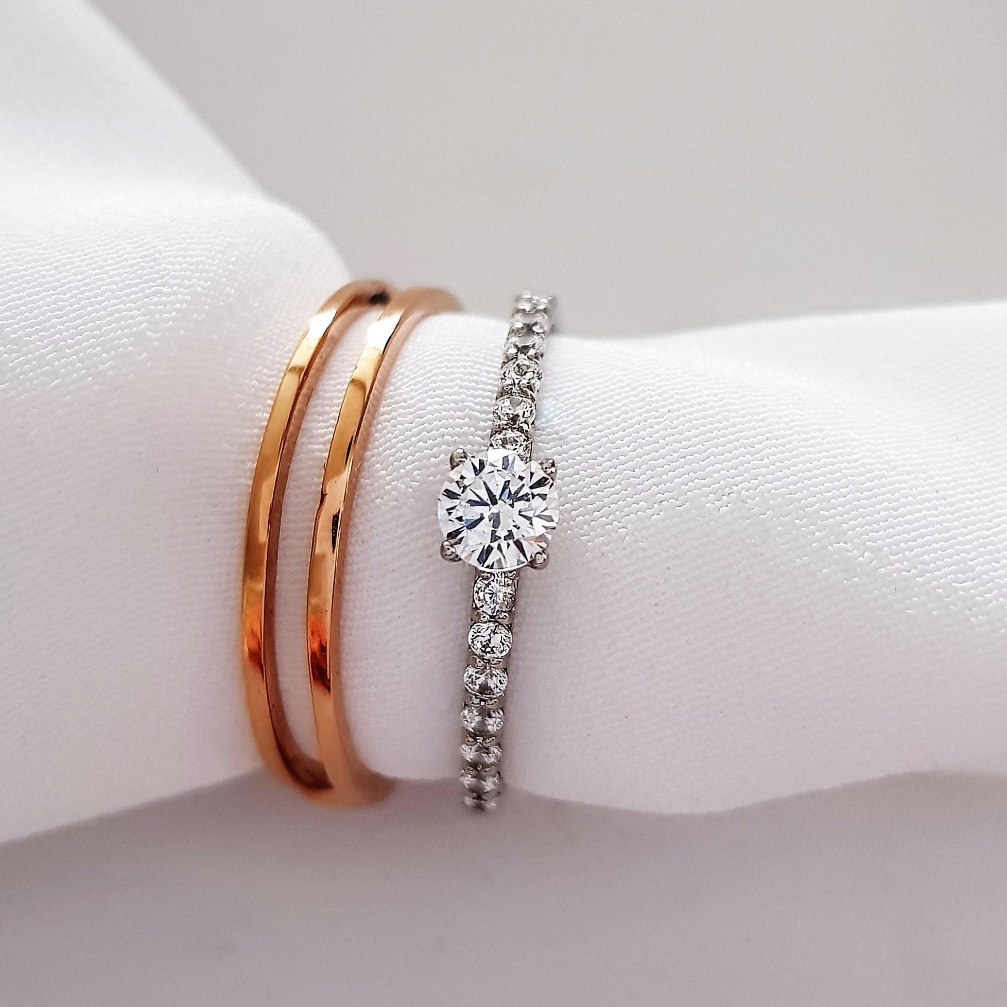 Двойное золотое кольцо цена производителя Киевголд