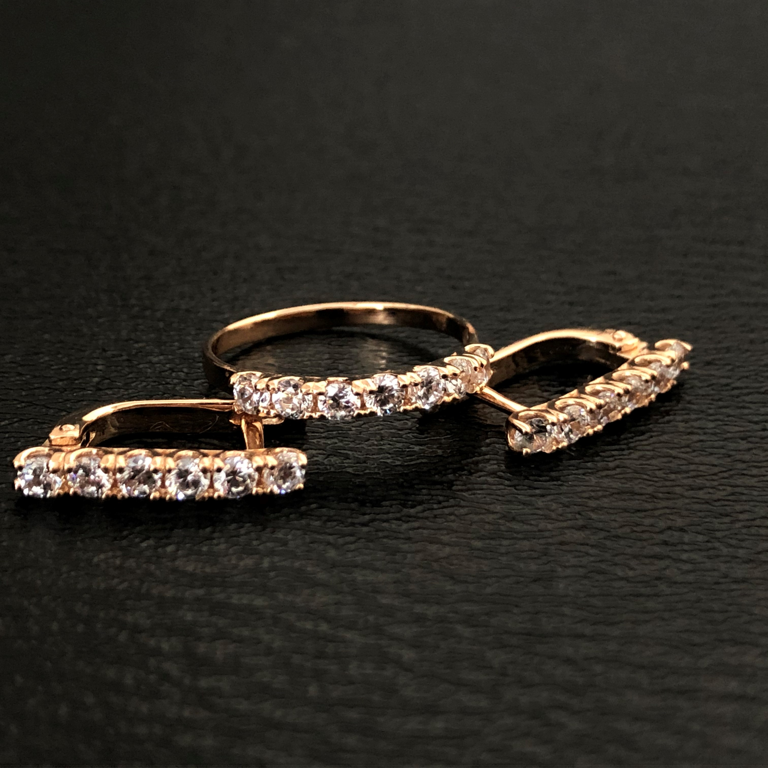 """Гарнитур """"Дорожки"""" золотые серьги и золотое кольцо Дорожки"""