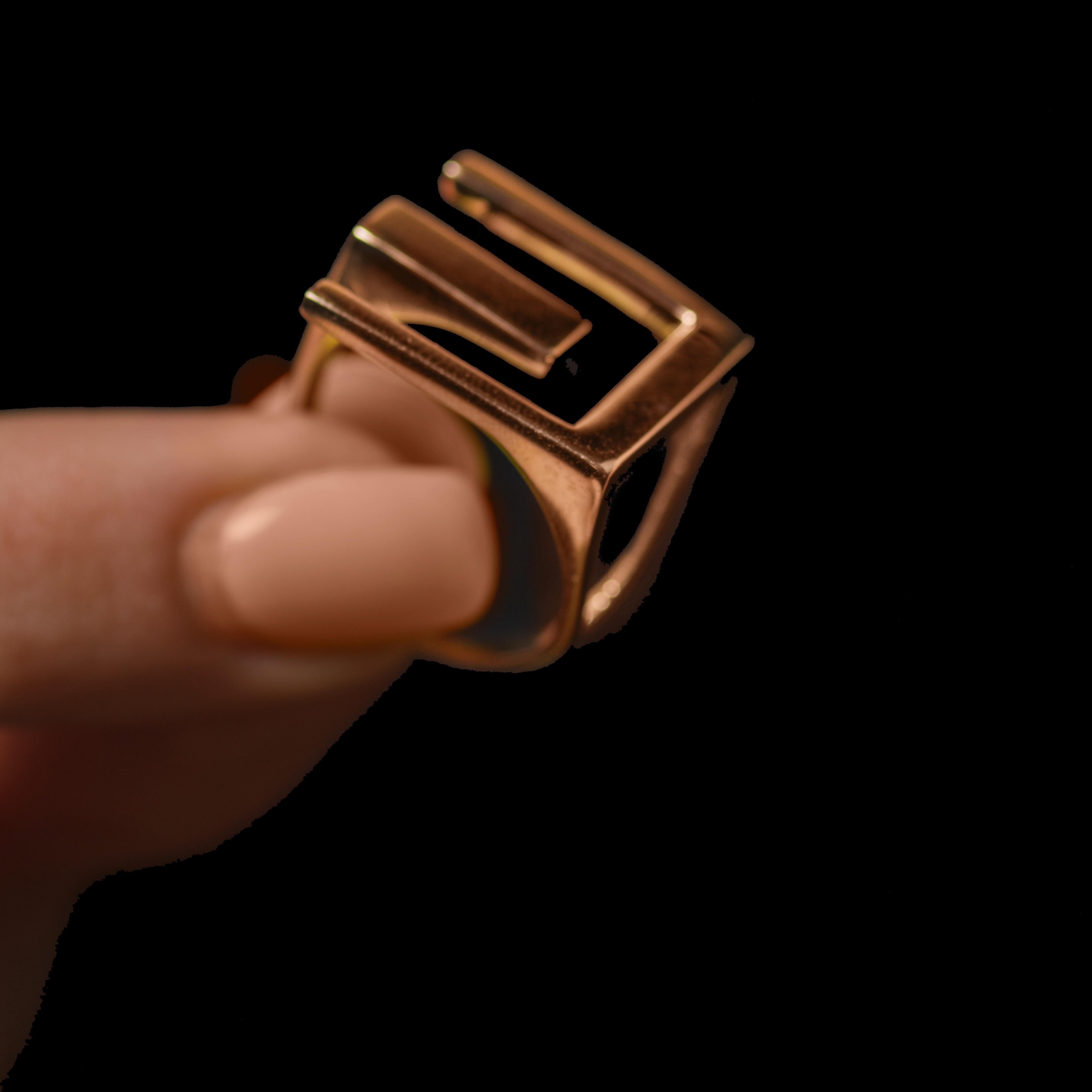 Золотое кольцо Тризуб в стиле тиффани