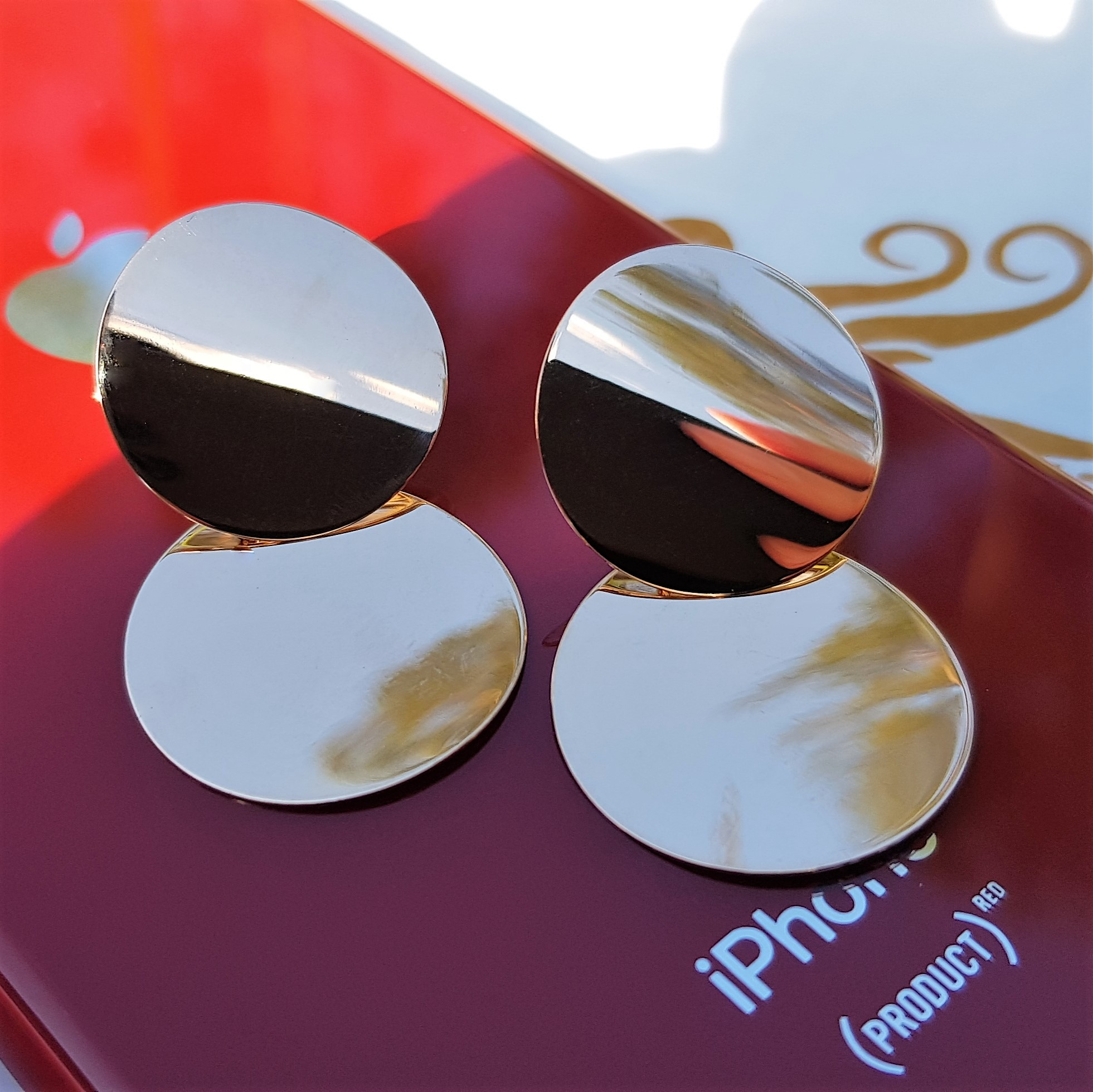 Круглые золотые серьги диски от Киевголд