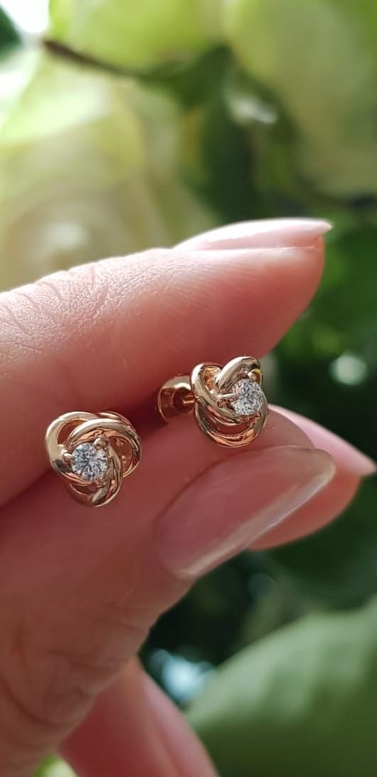 Золотые серьги-пусеты Цветок без переплат по цене производителя Киевголд